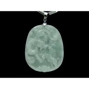 Majestic Dragon with Prancing Horse Jade Pendant1