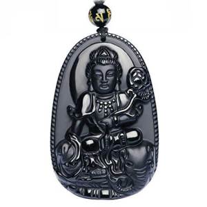 Obsidian Kwan Yin with 6mm Onyx Necklace