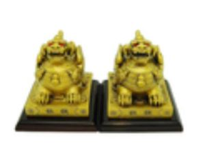 Pair of Brass Colored Feng Shui Pi Yao