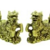 Pair of Chi Lin with Eight Auspicious Objects