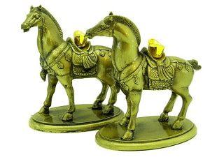 Pair of Tribute Horse Carrying Gold Ingot