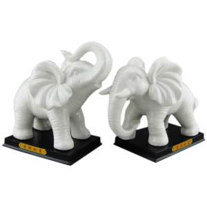 Pair of White Elephant with Ruyi and Gold Ingot1