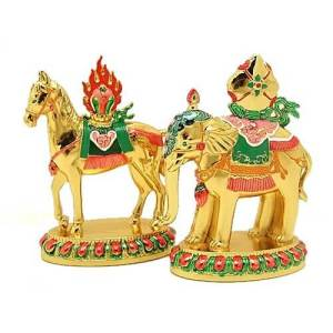 Pair of Wind Horse and Elephant Carrying Jewel1