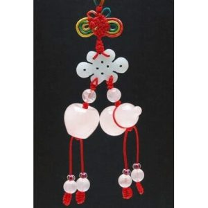 Rose Quartz Wulou and Apple with Jade Mystic Knot Hanging