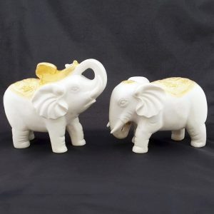 White Elephant Couple with Ruyi and Pearl for Happy Family