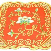 10Crt Gold Thread Silk Embroidered Flower Mat1