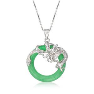 925 Silver Dragon and Jade Ring Pendant with Silver Chain