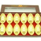 Auspicious Coins Embossed Gold Ingots (M) (Set Of 12)