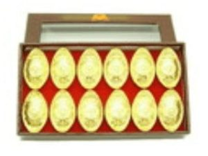 Auspicious Coins Embossed Gold Ingots (S) (Set Of 12)