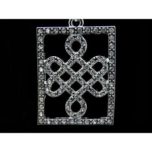 Bejeweled Feng Shui Mystic Knot Silver Key Chain1
