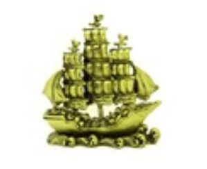 Brass Color Feng Shui Wealth Ship with Treasures