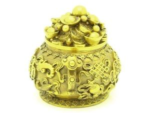 Brass Wealth Pot with Eight Auspicious Objects