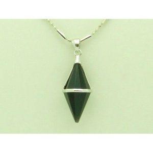 Double Terminated Polished Crystal Point Black Onyx Pendant1