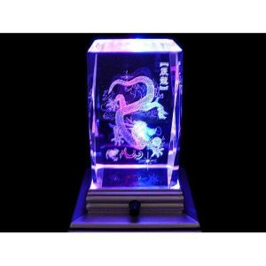 Dragon Grasping Ball 3D Laser Engraved Glass with Light Base1