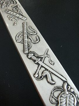 Eight Auspicious Objects Silver Ruler