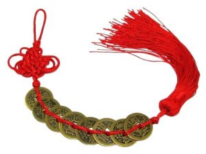 Eight I-Ching Coins with Mystic Knot Tassel