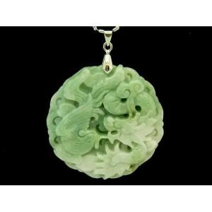 Elegant Jade Medallion Dragon and Phoenix Pendant with Chain1