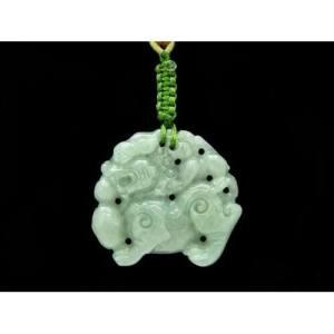 Elegant Jade Pi Xiu Carrying Child Necklace1