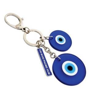 Evil Eye with Om Mani Padme Hum Keychain