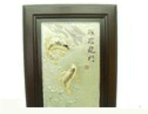 Exquisite Pewter Feng Shui Double Carps Framed Artwork
