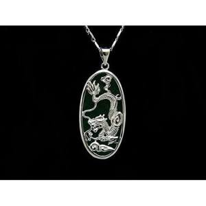 Feng Shui Dragon with Green Jade Pendant1