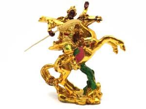 Golden Hero Kuan Kong Riding Horse Statue