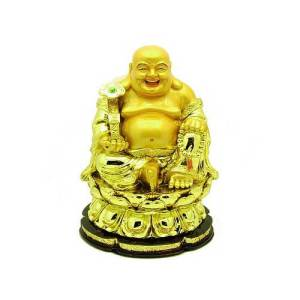 Golden Laughing Buddha Holding Ruyi on Lotus1