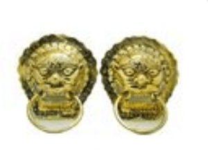 Golden Lion Head Door Knockers (L)