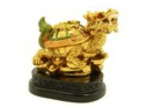 Golden Mini Dragon Tortoise with String of Coins