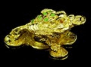 Golden Mini Three Legged Toad for Wealth Luck
