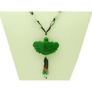 Green Jade Prosperity Medallion Lock Pendant Necklace1