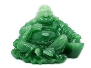 Jade Green Relaxing Laughing Buddha with Gold Ingot1