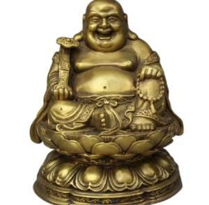 Laughing Buddha with Ruyi on Lotus