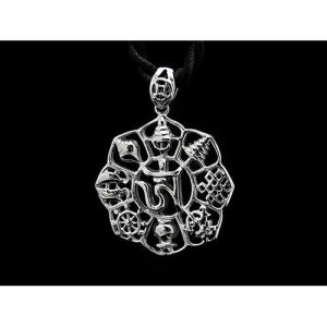 Om Syllable with 8 Auspicious Objects Pendant1