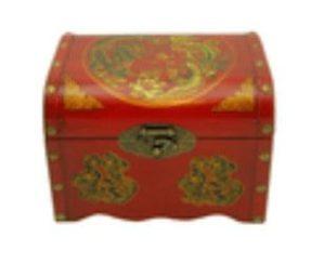 Oriental Antique Style Dragon & Phoenix Treasure Chest