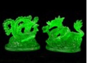Pair of Green Feng Shui Dragon and Phoenix