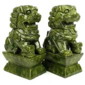 Pair of Green Jade Fu Dogs