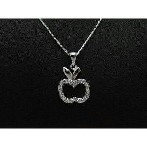 Sparkling Silver Apple Pendant Necklace1