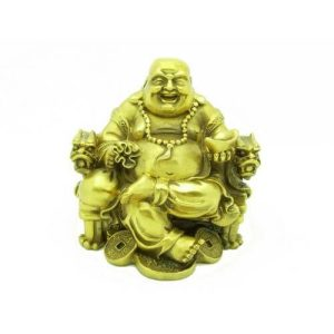 Wealthy Brass Laughing Buddha Sitting on Dragon Chair1