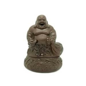 Zisha Clay Good Fortune Laughing Buddha Incense Burner1