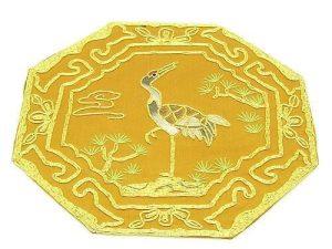 10Crt Gold Thread Silk Embroidered Crane For Longevity Mat1