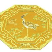 10Crt Gold Thread Silk Embroidered Crane For Longevity Mat1