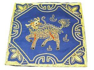 10Crt Gold Thread Silk Embroidered Kei Loon Blue Mat1