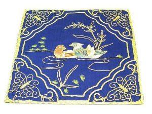 10Crt Gold Thread Silk Embroidered Mandarin Ducks Mat (Blue)1
