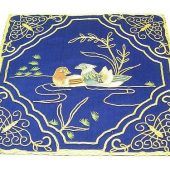10Crt Gold Thread Silk Embroidered Mandarin Ducks Mat (Blue)1