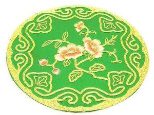 10Crt Gold Thread Silk Embroidered Peach Blossom Round Mat1
