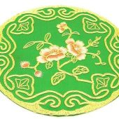 10Crt Gold Thread Silk Embroidered Peach Blossom Round Mat1