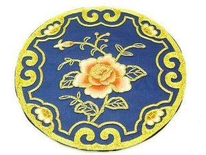 10Crt Gold Thread Silk Embroidered Rose Round Mat