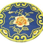10Crt Gold Thread Silk Embroidered Rose Round Mat