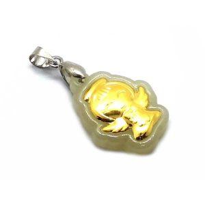 999 Pure Gold Angel Hetian Jade Pendant1
